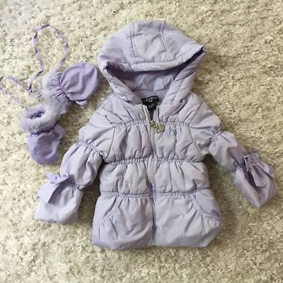 XOXO 24 Mo Toddler Girl's Light Purple Winter Puffer Jacket Coat with Mittens