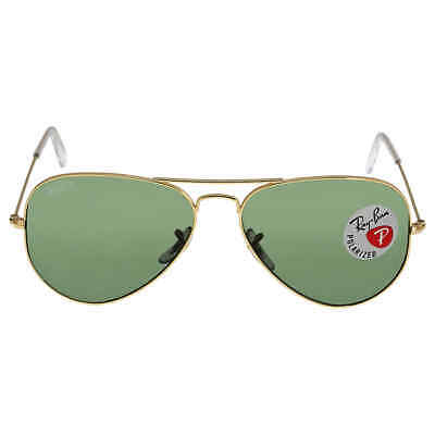 Ray Ban Aviator Green Polarized Lens 58mm Sunglasses RB3025-001/58-58