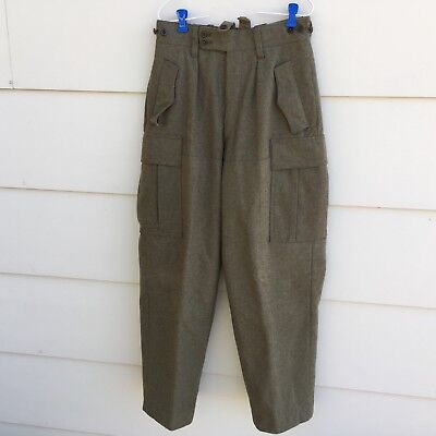 VINTAGE WEST GERMAN MILITARY HEAVY WOOL FIELD CARGO PANTS TROUSERS SIZE 28  x 31 e1de5d6d5f65