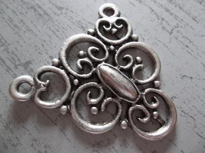 Large Silver Victorian Lace Filigree Connector Pendant Silver Plated Pewter 1pc.