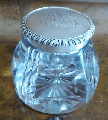 Antique Lead Crystal Beveled Inkwell Monogramed Sterling Silver Hinged Lid