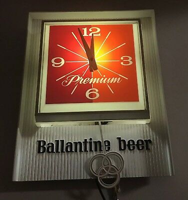 1967 Ballantine Beer Lighted Up Pendulum Motion Clock Electric Bar Sign Tested