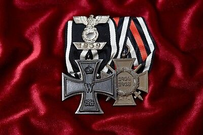 WWI/WWII GERMAN 1914 IRON CROSS 2nd w/1939 SPANGE & 1914-1918 CROSS OF HONOR MED