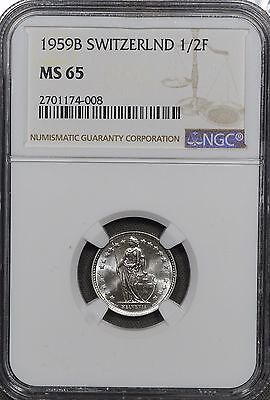 1959 FR Switzerland 1/2 Franc, Pop 3, KM# 23 1/2 Franc MS-65 NGC