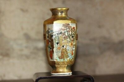 Antique Japanese Satsuma Miniature Cabinet Vase with base.