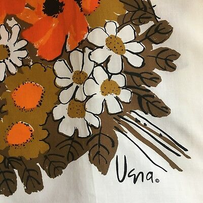 Vintage VERA Neumann  Square AUTUMN HARVEST Tablecloth FALL COLORS Signed Orange