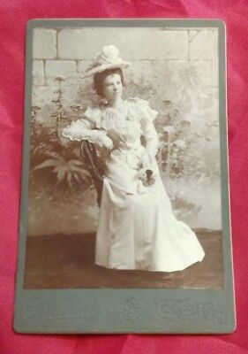 Antique Victorian 1940 Beautiful Fashion Lady In A Dress CDV Photograph