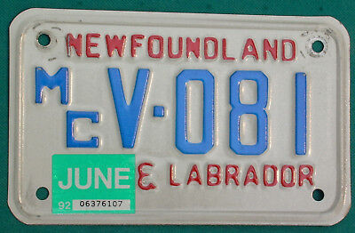 1992 Newfoundland+Labrador  MOTORCYCLE  license plate
