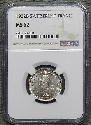 1932-B Switzerland Silver 1 Franc - NGC MS62
