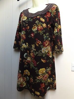 Gorgeous Brown Floral Tunic Dress..size 16..lagenlook..next Day Postage