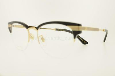 8e617c9328 Gucci Gg0201O 001 50Mm Gg0201 o Black Gold Frame With Clear Lenses  Eyeglasses