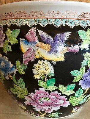Asian/Oriental Flower, Birds, Koi Fish Porcelain Jardiniere Planter Pot X-Large