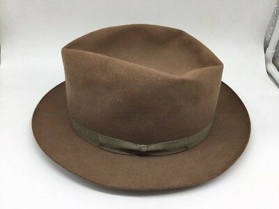 Vintage Royal Stetson Playboy Hat Fedora Light Brown Soft 7 1/4