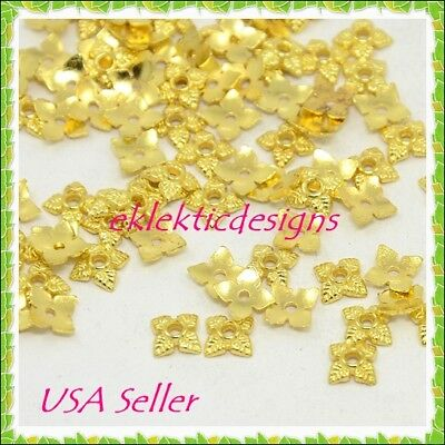 50pcs Gold Plated Tibetan Style 4 Petal Flower Bead Caps 6mm Jewelry Findings