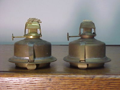 2 Early Matching Brass Burner/Fonts Lantern Bottom Inserts