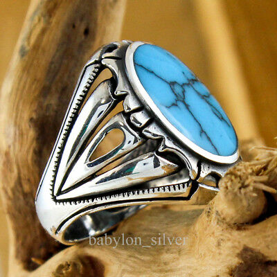 925 Sterling Silver Turkish Handmade Turquoise Stone Men's Luxury Ring All Size