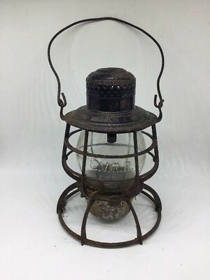 ANTIQUE 1800s LEHIGH VALLEY RAILROAD LANTERN  WITH MATCHING GLOBE