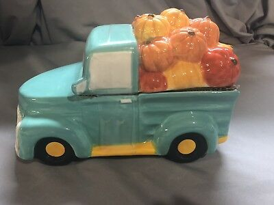 Harvest Truck W Pumpkins Cookie Jar Hand Painted Earthenware New