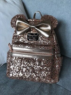 NEW DISNEY PARKS Minnie Mouse Rose Gold Loungefly Mini Backpack SOLD ... 1669dff282