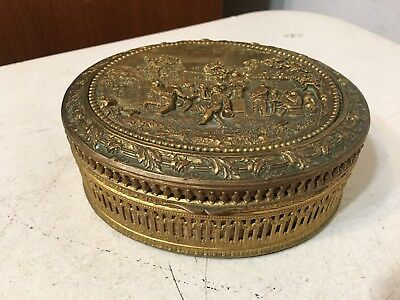 Beautiful Antique French Gilt Jewelery Trinket Box Germanic Relief Top