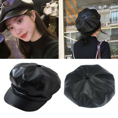 a274b397 Fashion Women Unisex's Retro Peak Cap Beret Caps Octagonal Faux PU Leather  Hat