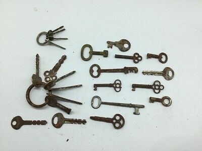 Antique Ornate Skeleton & Trunk Keys Cabinet Door Lot of 23