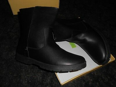 ladies size 5 flat black ankle boots leather upper