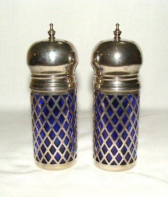 Vtg GODINGER Silver Co Silverplate Ornate Cobalt Blue Salt & Pepper Shaker Set!
