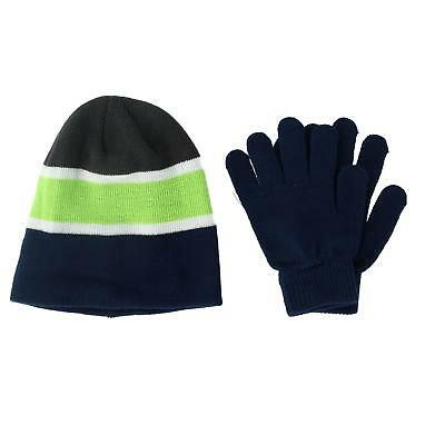 New Grand Sierra Kid's 4-7 Striped Hat and Solid Gloves Winter Set