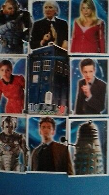 dr who alien  attax 50 anniversary edition  tardis puzzle cards full set 9 cards