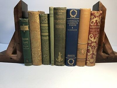 Antique & Collectible Lot Of 8 Books Of Poetry From Mid To Late 1800s All HC
