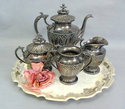 Gorgeous Antique Pairpoint Silver-plate 4pc Teaset Pat. Lotus Flower 385