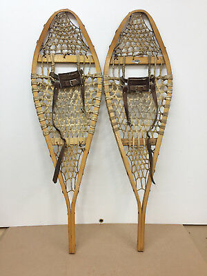 "Old Antique Vintage Indian Made Snowshoes 12"" X 42"" Usable Or Decor"