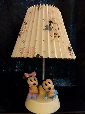 Disney 1984 Baby Mickey and Minnie Mouse Lamp with Night Light And Shade