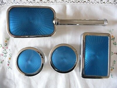 Vintage Four Piece Vanity Brush Set Made In England Chromium Plated
