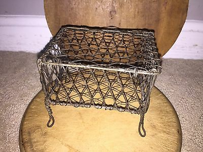 Early Antique 1930's Miniature Wire Basket Compote Fantastic Old Wire Box