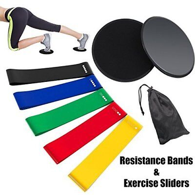 Resistance Loop Bands and Core Sliders with Carry Bag Set of 5 Exercise Loop