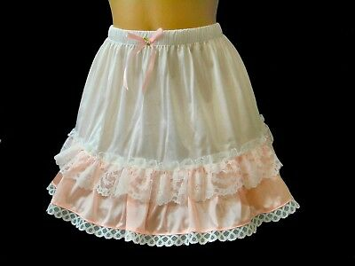 White & Pink Ruffle Adult Sissy Vintage inspired Slip Skirt  14 inch Long