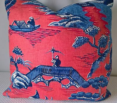 """Lee Jofa Willow Pattern Blue Linen Pillow Cover Chinoiserie Scalamandre Back 18"""""""