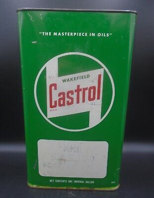 VINTAGE 1950's WAKEFIELD CASTROL MOTOR OIL IMPERIAL GALLON CAN
