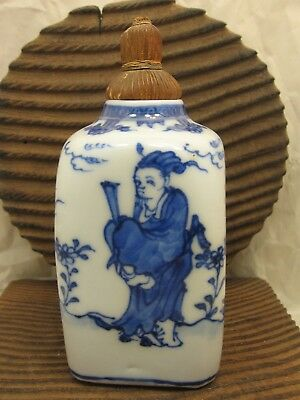Vintage Chinese Blue and White Porcelain Tea Caddy with Original Woven Top