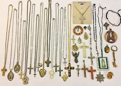 Huge LOT 32 Pieces vintage Religious Jewelry Cross Rosary Crucifix &more NICE