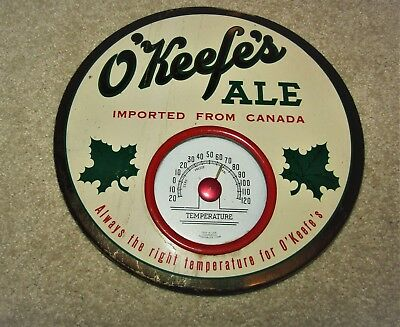 O'KEEFE'S ALE 1950's THERMOMETER button sign CANADA