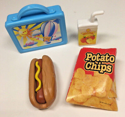 TYCO Kitchen Littles barbie size lunch box juice box chips hot dog