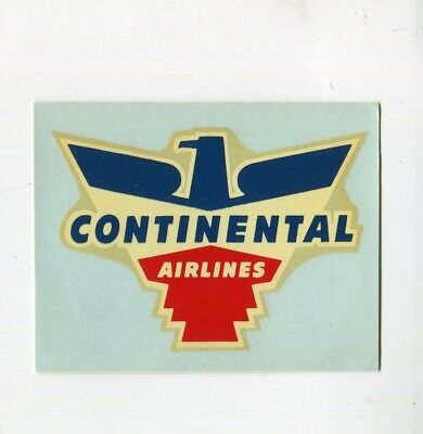 Vintage Airline Label Decal CONTINENTAL AIRLINES eagle logo