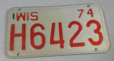 1974 Wisconsin motorcycle license plate