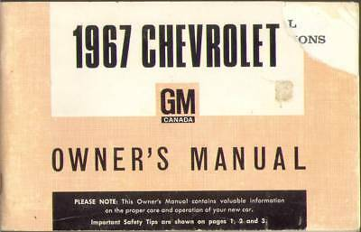 FACTORY 1967 CHEVROLET FULL-SIZE CAR OWNER'S MANUAL,GM Canada