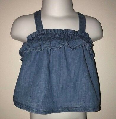 Infant Girl's (Old Navy) Adorable Jean Ruffle Top Size 0-3 Months - GUC!!!!