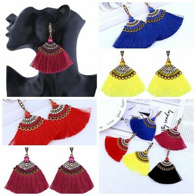 Women Crystal Bohemian Long Tassel Dangle Fringe Drop Stud Earrings Gift