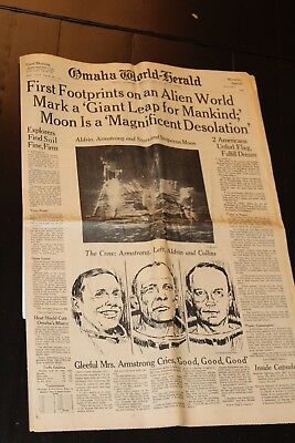 Vintage Omaha World-Herald walking on the moon July 21, 1969 Moonday Special
